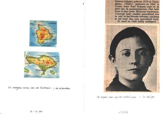 links: de erogene zones van de fantasie - 1 de eilanden - rechts: de erogene zones van het katholicisme - 1 de heiligen