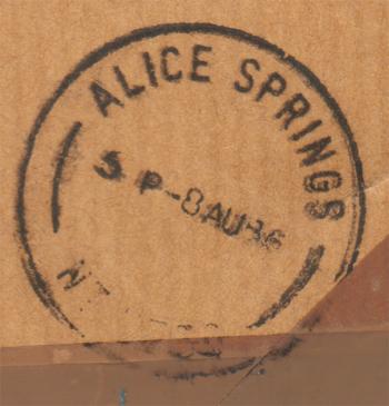 de stempel op de achterkant van de envelop