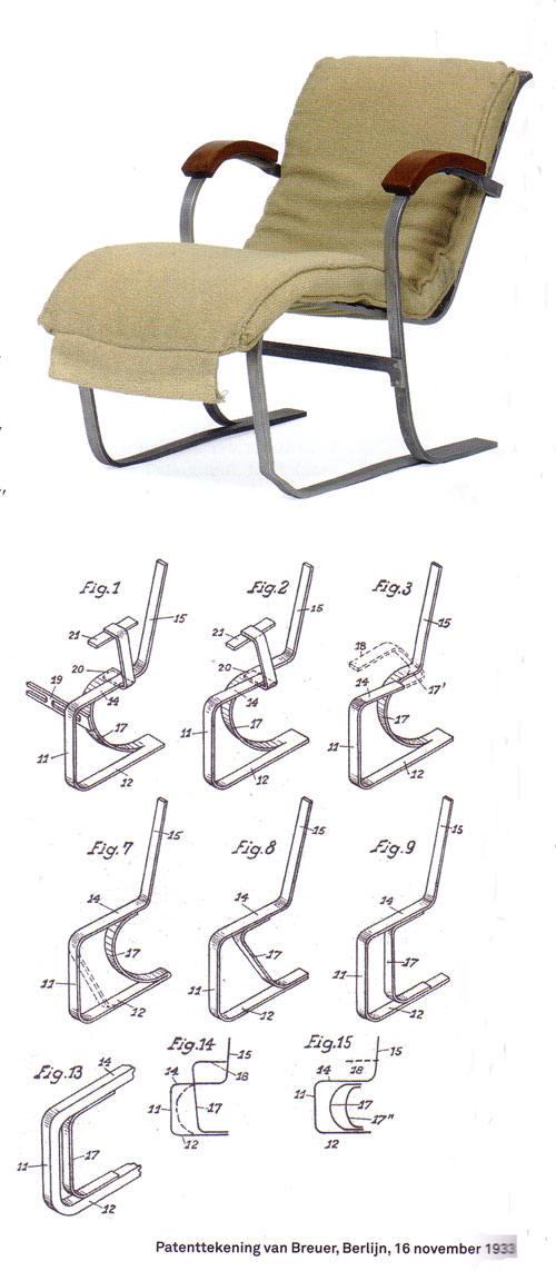 stoel met patenttekeningen