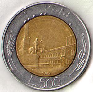 italiaanse munt van 500 lire