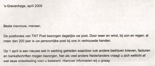 opening van de brief...