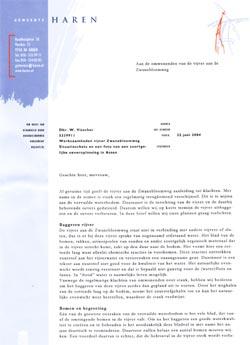 de brief aan de omwonenden van de vijver
