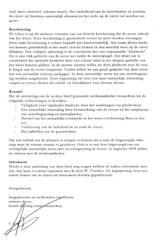 tweede deel van de brief van de gemeente