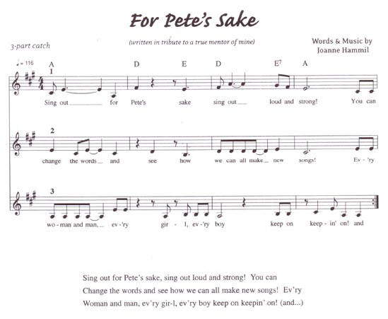 sing out for pete's sake....