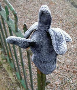 blauwe handschoen