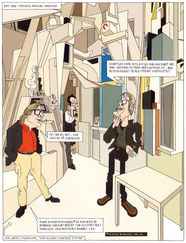 de twee tekenaars in hun eigen strip, in de merzbau van schwitters...