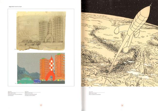 schetsen en tekeningen voor de maanalbums van kuifje
