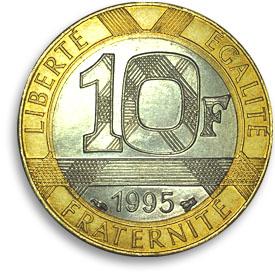 tien francs, ongeveer 40 cent