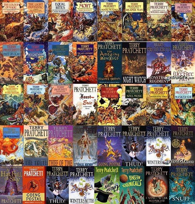 Een aantal van de discworldboeken (het zijn er inmiddels al zo'n veertig) in pocketuitvoeringen - je kunt ze in verschillende uitvoeringen krijgen tegenwoordig, ook in goedkope hardcovers met leeslint.