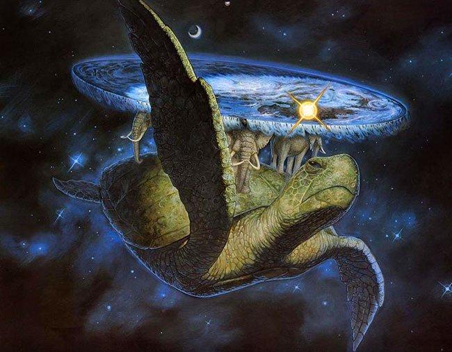 De door Pratchett verzonnen Discworld, oftewel Schijfwereld, die rust op vier olifanten die weer rusten op een enorme schildpad die rustig door het heelal zwemt.