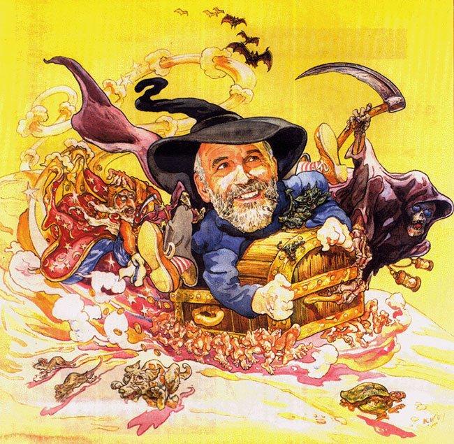 Terry Pratchett, getekend door Kirby, met Rincewind, Death, Luggage (de koffer op honderden voetjes) en meer - voor de liefhebbers van de Discworldboeken een mooi puzzelplaatje.