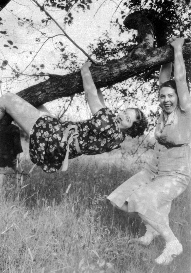 vrouwen in boom