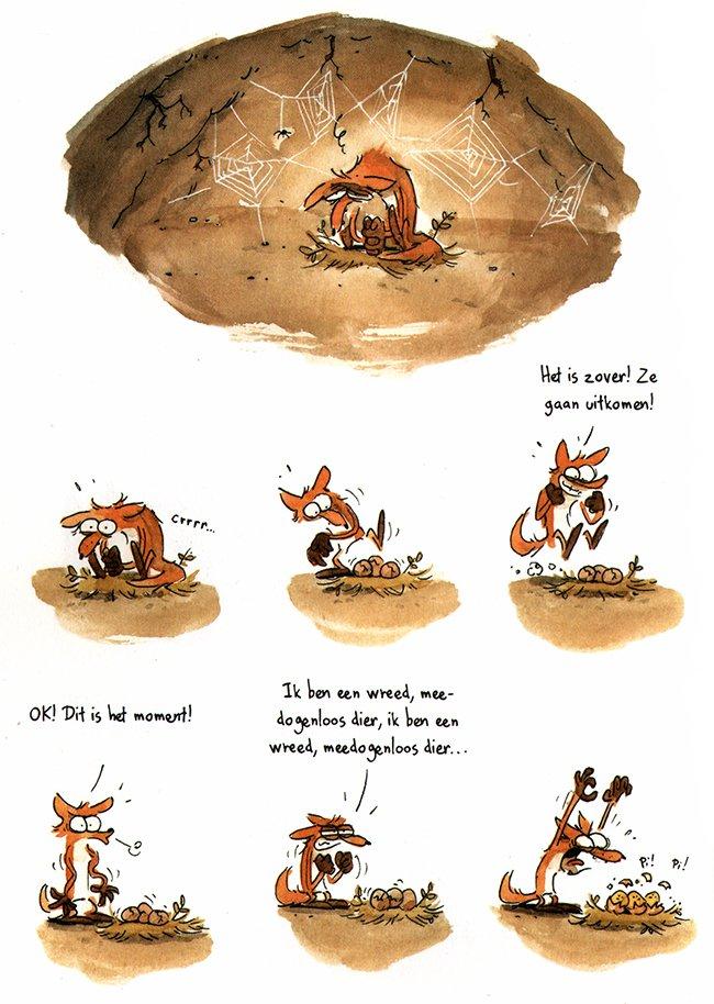 vos broedt eieren uit