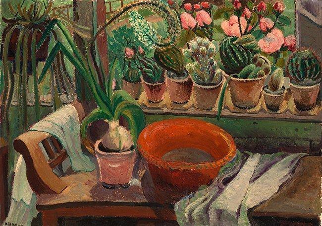 raam met cactussen