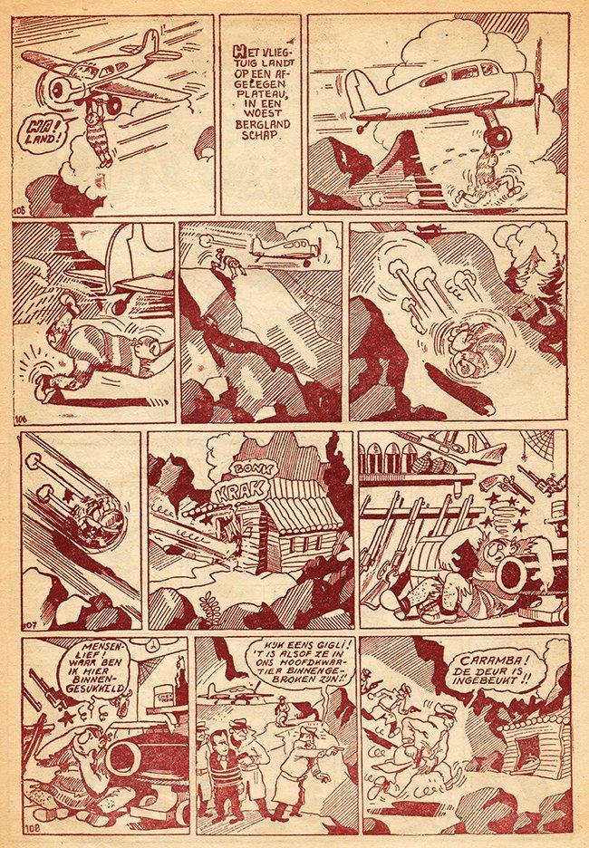 in 1950 gedrukt in rode inkt op houthoudend krantenpapier