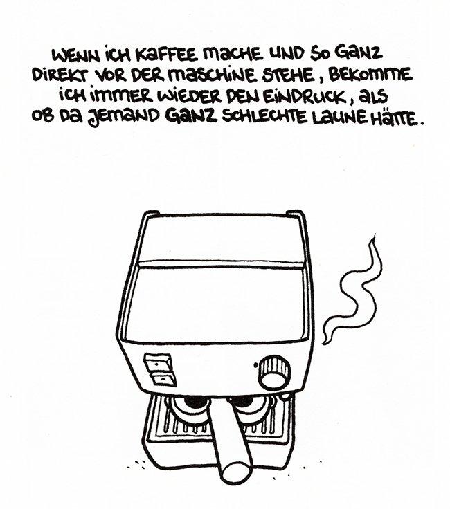 een slechtgehumeurde koffiemachine