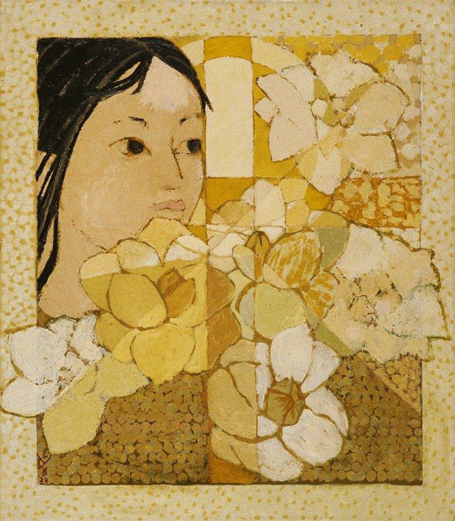 Meisje met lotusbloemen